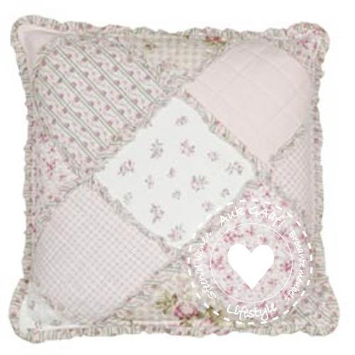 Kussenhoes met patchwork roze
