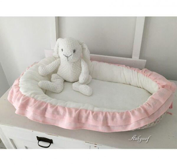 "Babynest patchwork rand roze wafel ""Cindy"""
