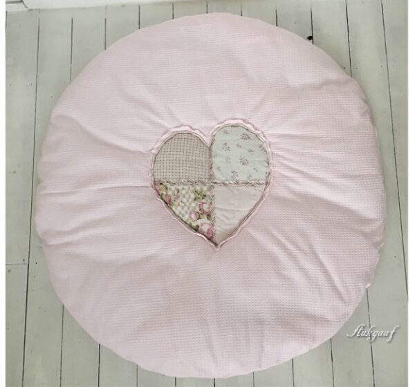 """boxkleed rond patchwork rand roze wafel """"Cindy"""""""