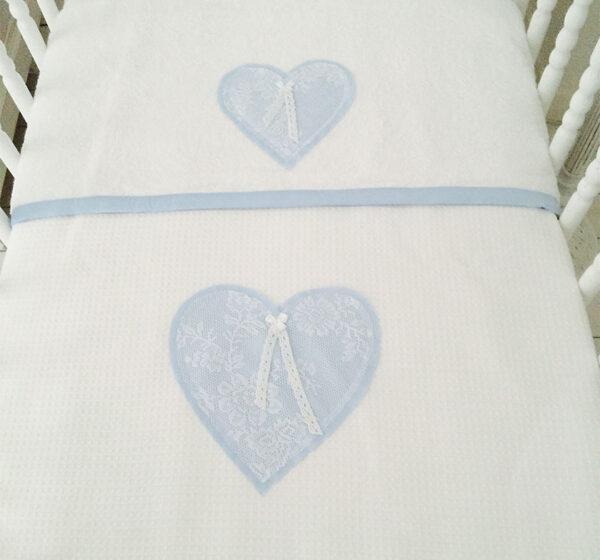 "Wieg/ledikant deken blauw met kant ""Abby"""