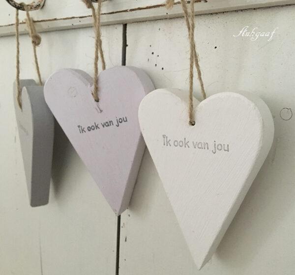 houten hartje 'ik ook van jou,lila''