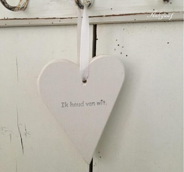houten hartje 'ik houd van wit''