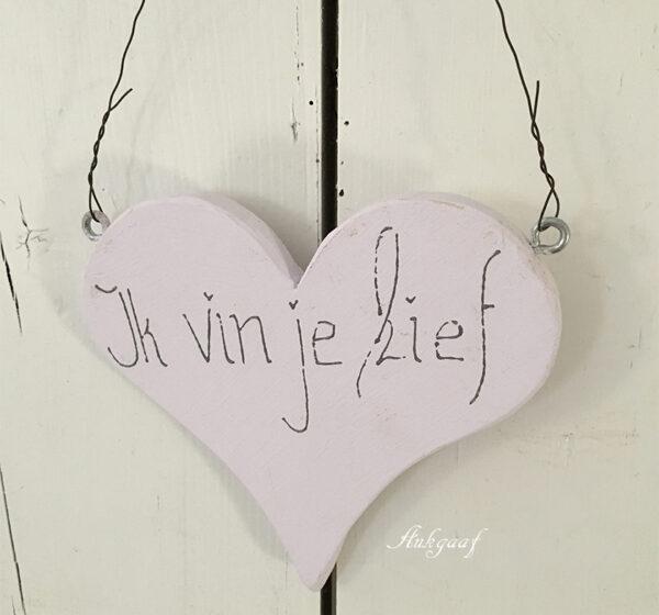 houten hartje ''Ik vin je lief ,lila''