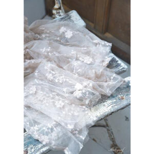 Soft tulle with flowers ''cream''