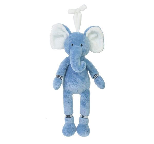 """Knuffel olifant Happy horse """"blauw"""" knuffel met muziek"""