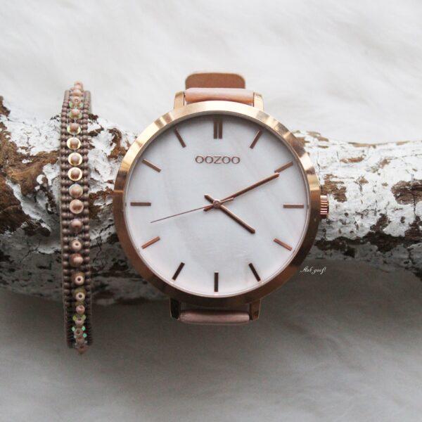 Oozoo horloge rose goud met licht roze bandje