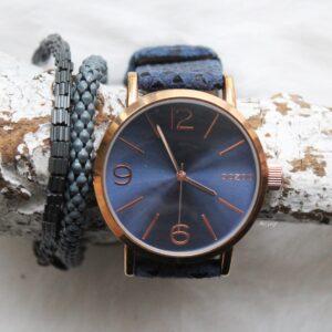 Oozoo horloge rose goud met donker blauw bandje