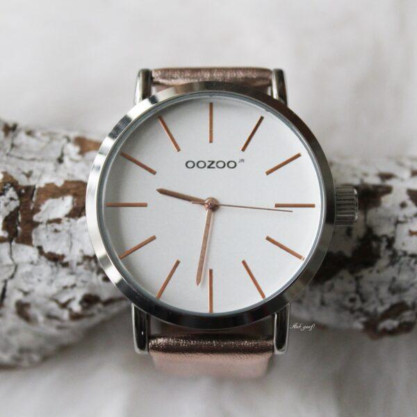 Oozoo junior horloge zilver met rose goud bandje