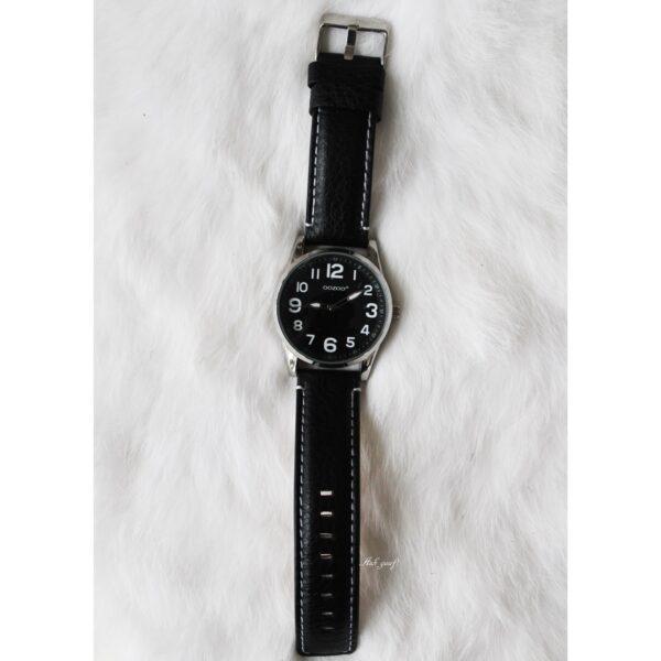 Oozoo junior horloge zilver met zwart bandje